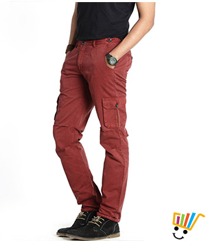 Basics Casual Plain Red 100% Cotton Tapered Cargo Pants  13BCT29342