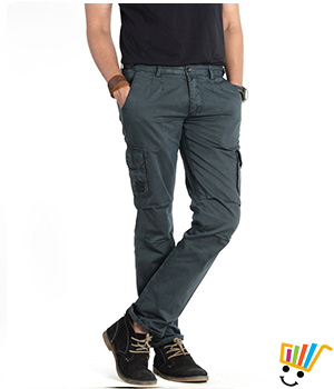 Basics Casual Plain Green 100% Cotton Tapered Cargo Pants  13BCT29343