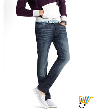 Basics Casual Plain Navy Cotton Elastane Skinny Jeans  13BJN29094