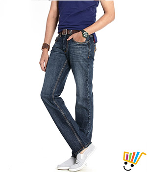 Basics Casual Plain Blue 100% Cotton Slim Jeans  13BJN29098