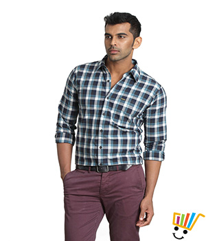 Basics Casual Checked Turquoise 100% Cotton Slim Shirt  13BSH29202