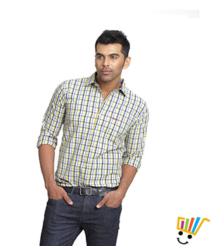 Basics Casual Checked Yellow 100% Cotton Slim Shirt  13BSH29214