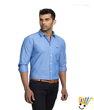 Basics Casual Self Blue 100% Cotton Slim Shirt  13BSH29222
