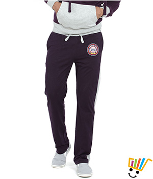 Basics Casual Plain Purple 100% Cotton Regular Track Pants State Troopers 13BTP29121