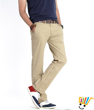 Basics Casual Plain Khaki Cotton Elastane Slim Trousers  13BTR28799