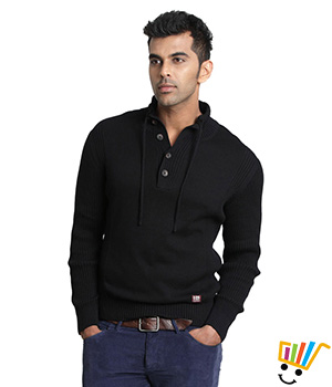Basics Casual Plain Black 100% Cotton Muscle T.Shirt  13BTS29031