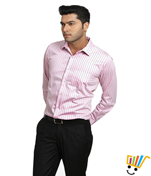 Genesis Formal Striped Pink 100% Cotton Regular Shirt  13GSH28971