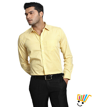 Genesis Formal Striped Yellow 100% Cotton Slim Shirt  13GSH29060