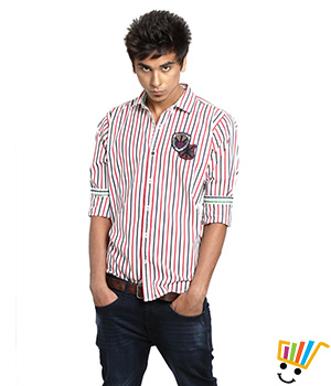 Probase Casual Striped Red 100% Cotton Slim Shirt  13PSH28883