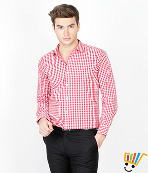 Genesis Formal Checked Red 100% Cotton Regular Shirt  14GSH30034