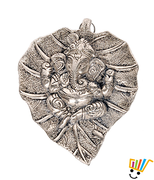 White Metal Leaf Ganesha Idol Hanging