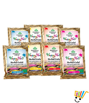 Organic India Gulal Pack of Eight Multi Color