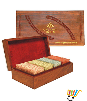 Organic India Super Deluxe Wooden Gift Box 4 x 25 Tea Bags