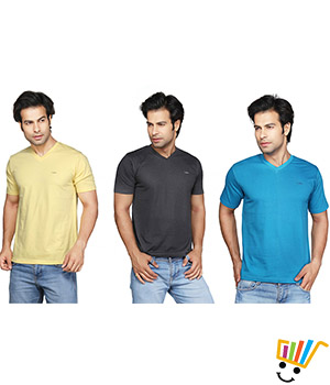 Clifton Mens V-Neck Tshirt Combo - Pack Of 3 Blue Yellow Charcoal