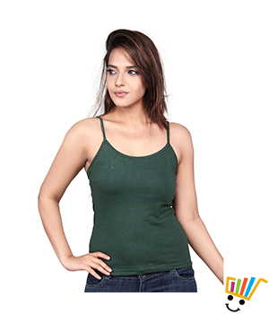 Clifton single strap camisole Bottle green Color