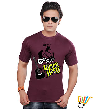 Clifton Graphic T shirts Guitar Hero Wine Color