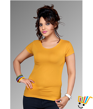Clifton Womens Plain Solid T-shirt Mustard Color