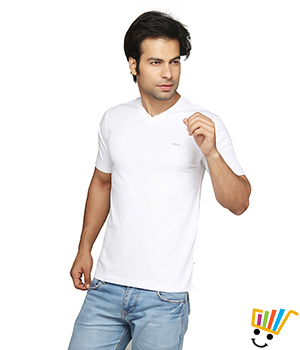 Clifton Mens V-Neck Tshirt White White Color