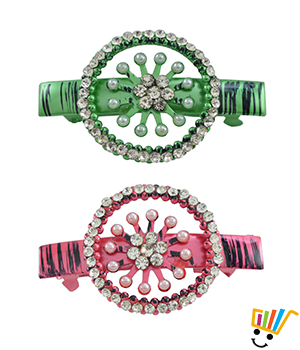 AAKSHI Pearl Princess, Diamond Daughter Set of 2 Hair Clips in Emerald green and Ruby red tones AKS_HC_PDER