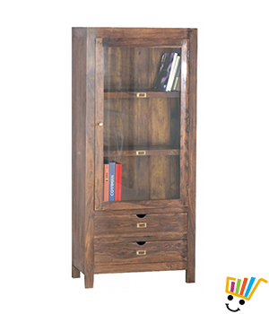 Urban Living 1 Door 2 Drawer Glass Cabinet - BT0176B