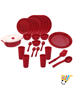 25 pc Microwavable Round dinner set. Set contains 4 round dinner plate, 4 round quarter plate, 4 round maxi bowls, 4 big spoons, 4 tumblers, 1 Emerald cookNServe big, 1 rice plate, 1 Emerald server lid, 1 rice spoon, 1 ladle Red DNRSET1_R