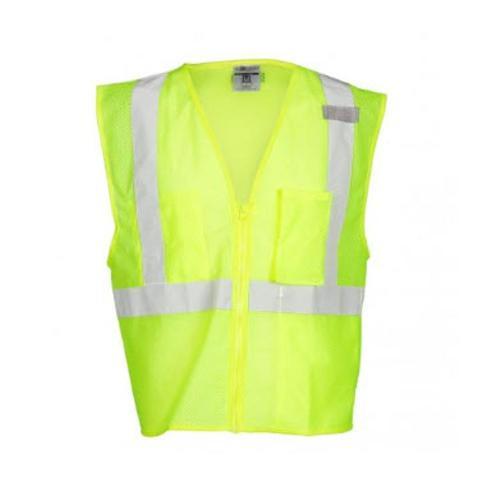 ML Kishigo 3 Pocket Zipper Mesh Lime Vest - 2 XL
