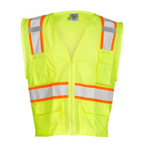 ML Kishigo 6 Pocket All Mesh Contrast Lime Vest - Large