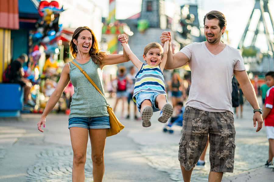 A family having fun on vacation with child