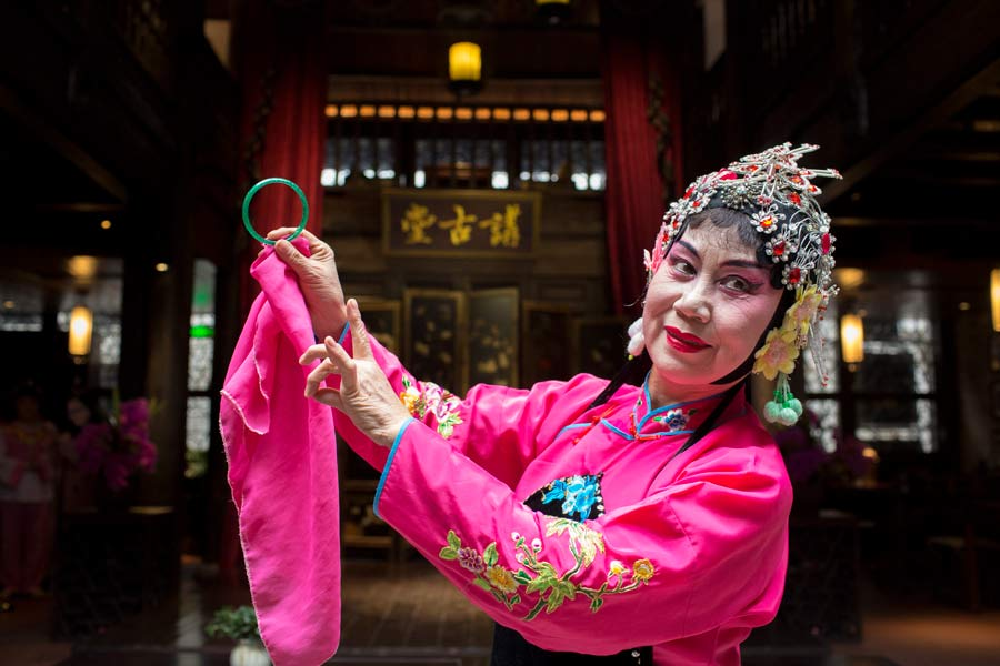 Guilin Opera actor on stage during a show