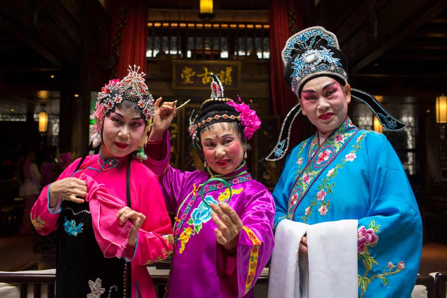 Guilin Opera Performers in full costume and makeup
