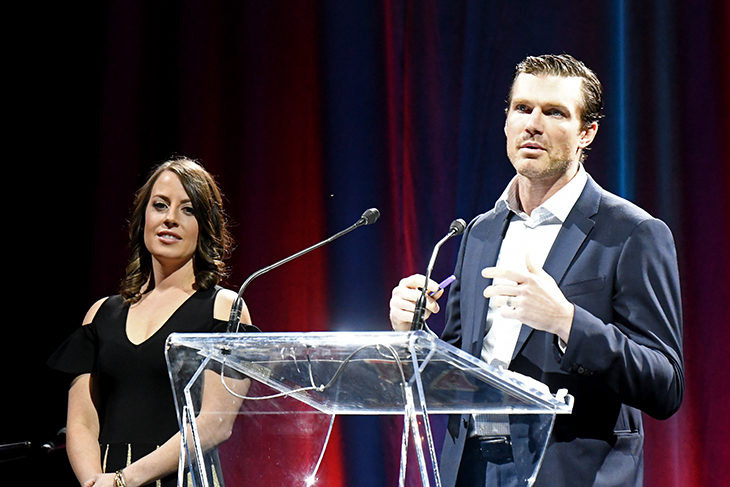 David Clarkson shares with more than 400 attendees at DREAM what Clarky's Kids has meant to him and his family since the program began in 2008.