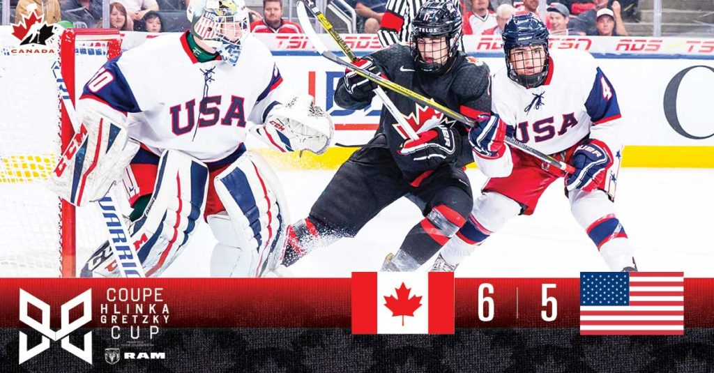 new product ad17f d4475 Canada rallies to win OT thriller over USA in Hlinka Gretzky ...