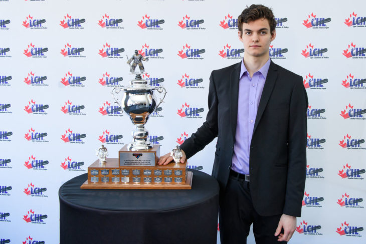 HALIFAX, NS - MAY 25: Memorial Cup Presented by Kia CHL Awards Media session on Saturday, May 25th, 2019 at the Halifax Convention Centre in Halifax, Nova scotia, Canada. (Photo by Vincent Ethier/LHJMQ/CHL)
