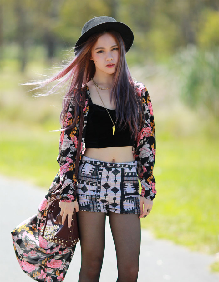 c632185045bc7 Always love a floral kimono! It just makes an outfit more fun and lively. I  wore it with a black velvet American Apparel bustier and a pair of shorts  in a ...