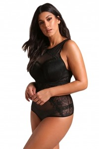 Black plus size mesh net lace trim bodysuit lingerie lc32198 2 27254