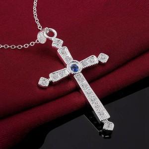 Cruz circonia azul