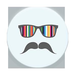 Mustache light blue rainbow single front grande