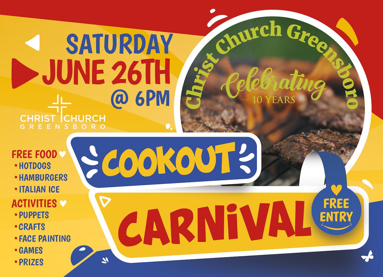 Saturday June 26th Cookout & Carnival