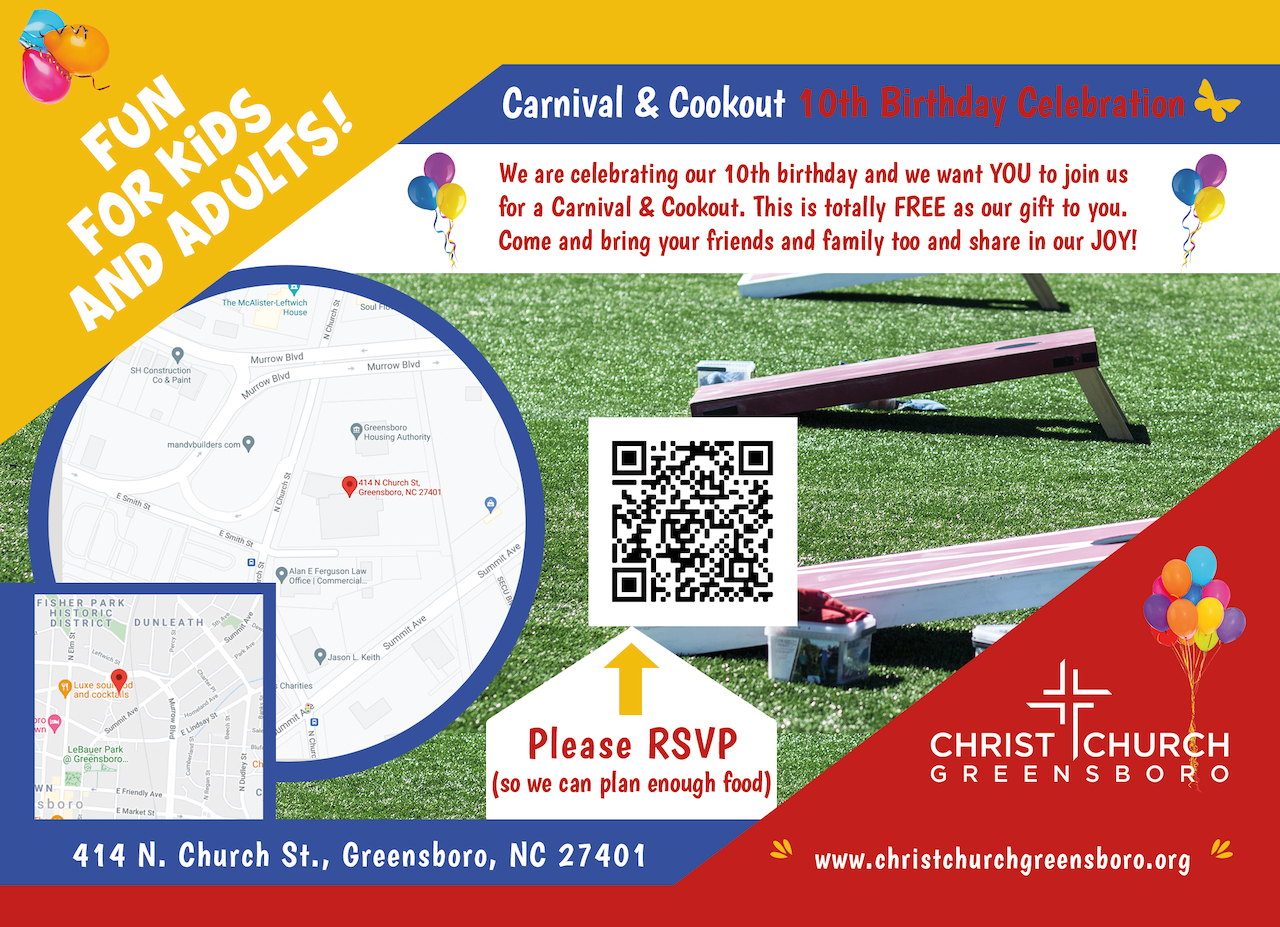 Cookout directions and RSVP