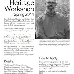 Announcing The Heritage Workshop for the Spring Semester, 2014