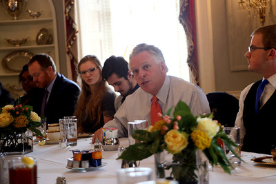 Governor McAuliffe at the student reporters luncheon on Feb. 1, 2017