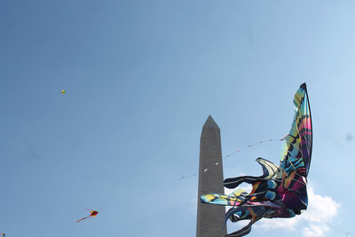 Aerial shot of kite at the DC Kite Festival