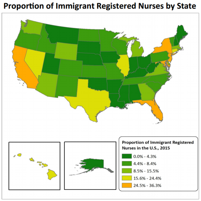 Proportion of immigrant registered nurses by state