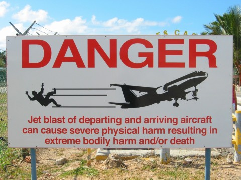 Maho Beach danger sign