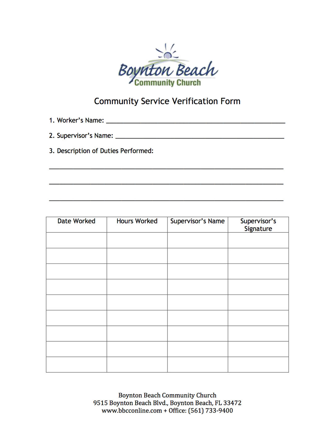Community Service Verification Form Updated