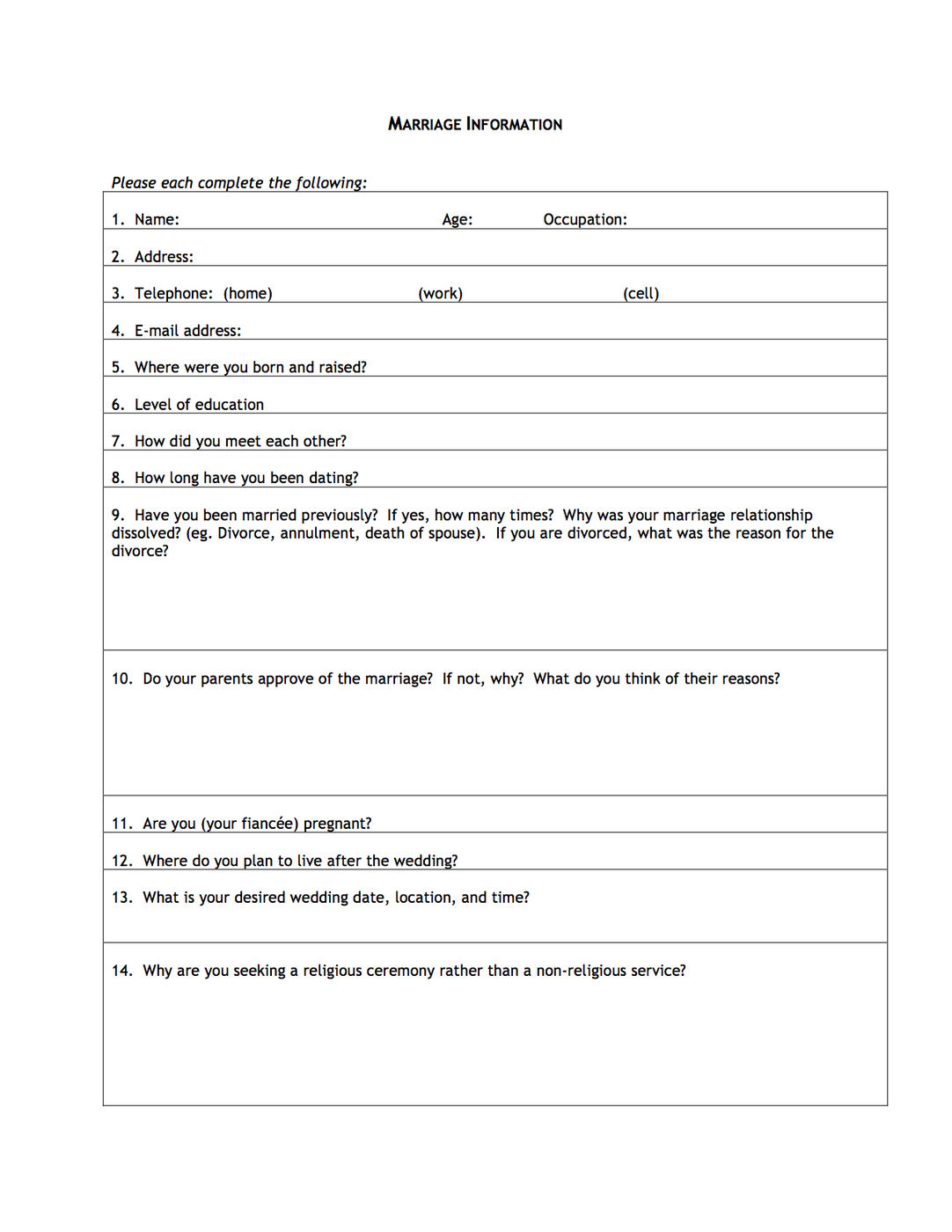 marriage information form