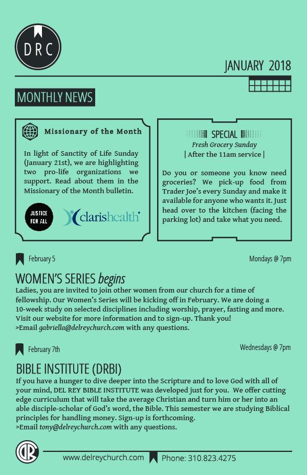 Del Rey Church: Playa Del Rey, CA > Church Monthly News