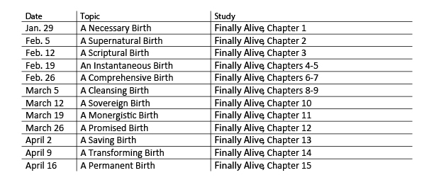New Birth Topic Schedule