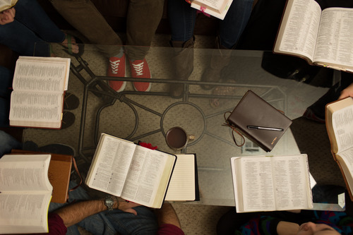 discipleship group - bibles on table