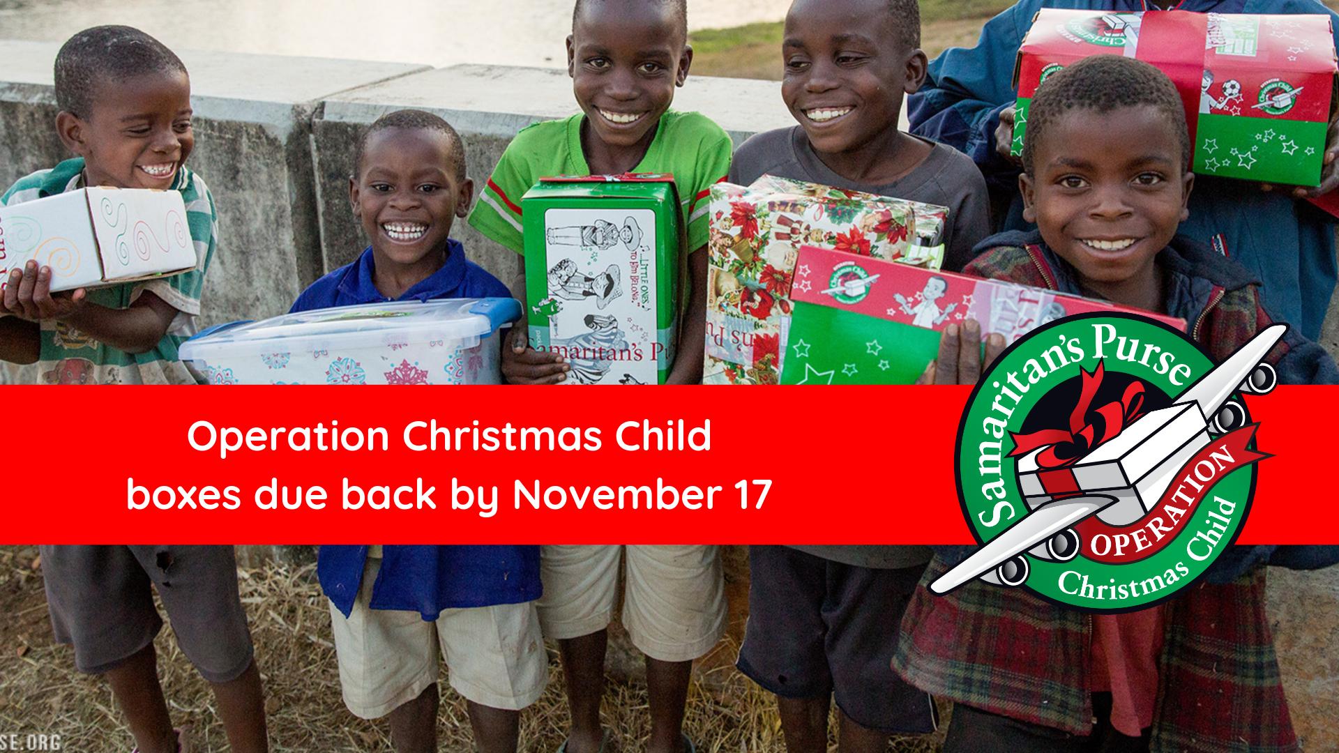 due back Operation Christmas Child  image